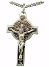 "Saint Benedict Jubilee Sterling Silver 1-1/4"" Crucifix Medal w/ 18"" Chain USA"