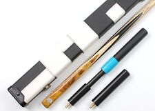 Gold Burr Ebony One 1 Piece Handmade Snooker English Pool Cue and Case Extension
