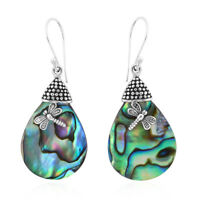925 Sterling Silver Abalone Shell Dragonfly Dangle Drop Earrings Jewelry Gift