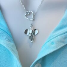 I Love Elephant Handcrafted Silver Lariat Style Y Necklace.