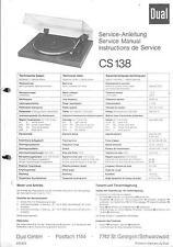 Dual original Service Manual para CS 138