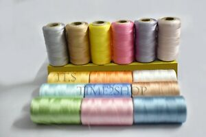 15 x Spools of sewing machine silk art embroidery threads, 15 Different Colors