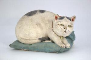 Japanese Antique Ceramic cat figurines Ornament clay signed Maneki neko