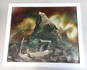 Amazing colors surreal oil painting Stonehenge Castle on a hill Other Worlds