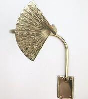 Vintage NOS Solid Brass Asian Japanese Fan Drapery Curtain Tiebacks Set of 2
