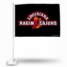 Louisiana Ragin Cajuns Car Flag New! Free Shipping! Black with Pole