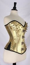 Real Leather Corset New SPIKES Gold SteamPunk