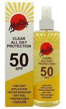 Malibu Clear All Day Protection Sun Tan Lotion Spray One Application SPF50 250ml