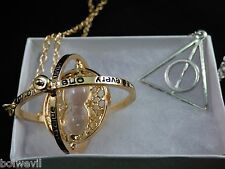 Harry Potter Time Turner Necklace + SILVER Deathly Hallow Charm Pendant necklace