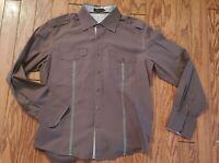 TOKU Brown Design Long Sleeve Button Down Casual Shirt mens L