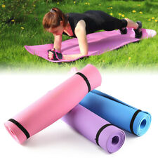 """Extra Thick 6mm Exercise Yoga Pilates Mat Gym Fitness 68""""x24"""" w/Stretching Strap"""