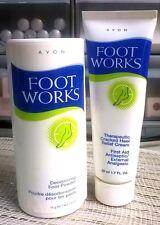 AVON FOOT WORKS DEODORIZING FOOT POWDER AND CRACKED HEEL RELIEF CREAM NEW