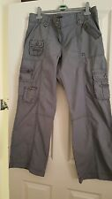 """CARGO TROUSERS SIZE 14 BY DOROTHY PERKINS IN GREY INSIDE LEG IS 31""""."""