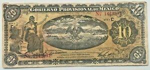 Billete Revolución de Mexico 10 pesos 1914 (P-S1107a.2) Gob Provisional Veracruz