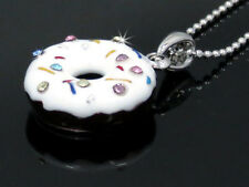 Sprinkle Austrian Crystal Chocolate Cream Frosting Dount Pendant Necklace New