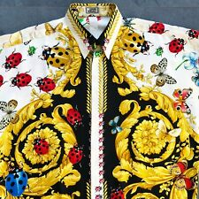 iconic GIANNI VERSACE silk men's shirt Barocco Butterfly Ladybug print size 52