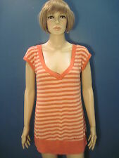 XL pink striped v-neck knit blouse by WET SEAL