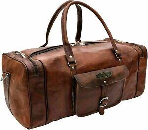 """New Men's Handmade 30"""" Genuine Leather Travel Bag Brown Weekend Duffel Luggage"""
