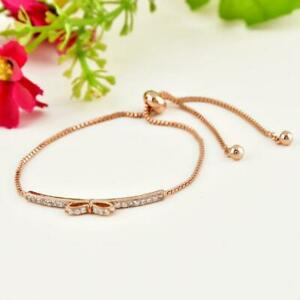 Womens High Quality Rose Gold Bowknot Cubic Zircon Bangles Bracelets Jewelry New
