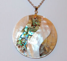 Round Shell Inlay Pendant (Abalone, White, Dark) and chain, Size 20.