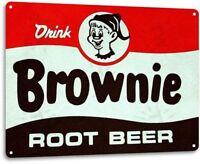 Brownie Root Beer Soda Cola Kitchen Cottage Bar Retro Label Metal Decor Sign