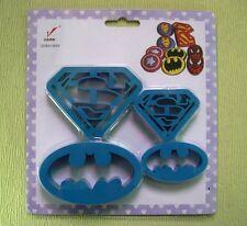 Superman Batman Cookie Cutter Fondant Biscuit Plastic Mold 4 pcs set