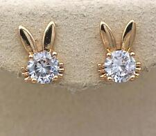 18K Gold Filled -Cat Ears Inlaid Big Gemstone Topaz Zircon Prom Girl Earrings DS