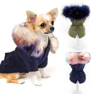 Luxury Dog Winter Clothes Fur Collar Coat Small Medium Dogs Jacket for Chihuahua