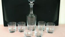 Floral Etched Glass Decanter, Stopper & 6 Rocks Glasses Vintage Barware Set