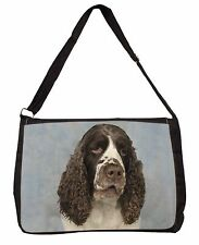 Springer Spaniel Dog Large Black Laptop Shoulder Bag School/College, AD-SS9SB