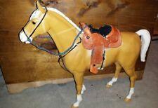 Johnny West Marx horse tooled western saddle set  bridle USA MADE