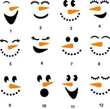 Snowman Face decal ornament, tumbler, cup window, sticker, you choose style size