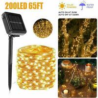 200 LED Solar String Lights Waterproof Copper Wire Fairy Garden Patio Decor