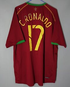 PORTUGAL NATIONAL TEAM 2006 2008 HOME FOOTBALL SHIRT JERSEY #17 RONALDO