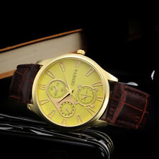 Men's Retro Leather Band Analog Stainless Steel Quartz Business Gold Wrist Watch