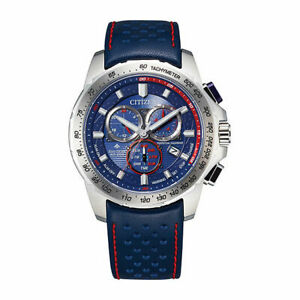Citizen Mens Chronograph Blue Leather Strap Watch Bl5571-09l