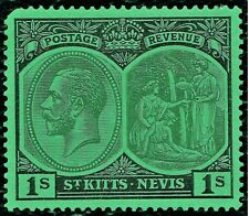 St. Kitts - Nevis 1929  1s Green Mint Hinged Stamps