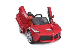 LICENSED FERRARI RIDE ON TOY 12V LEATHER SEAT LED LIGHTS AUX INPUT 2.4GHZ REMOTE
