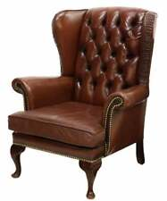 Armchair Leather, Wingback, Queen Anne Style Leather, Brown, 20th C.,Handsome!