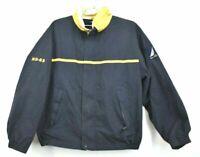 Vintage Nautica Mens XL Navy Blue Yellow Button Snap Zip Up Windbreaker Jacket