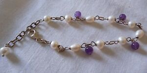 Cultured Pearl, Amethyst Bead and Silver Link Style Bracelet with Lobster Clasp