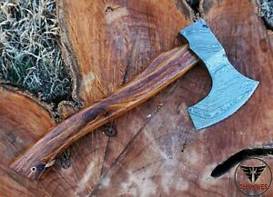Custom Handmade Damascus steel  Hatchet  Axe with Rose Wood Handle.