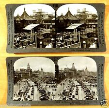 SHANGHAI China Willow Pattern Tea House & The BUND 2 Stereoviews 3D Photographs