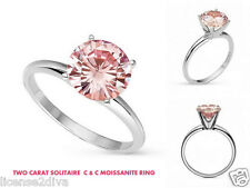 CHARLES & COLVARD WHITE 14K GOLD FANCY PINK SOLITAIRE ENGAGEMENT RING FINE 7