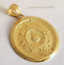 Solid Real 14k Yellow Gold Aztec sun calendar Pendant Charm 1.35 inch long