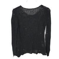 Eileen Fisher Open Knit Scoop Neck Sweater Size XS Black Sequin Knit Long Sleeve