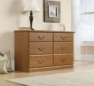 Sauder 6-Drawer Dresser, Carolina Oak Finish, 401410, Orchard Hills Collection