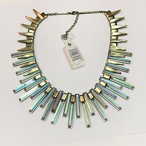 NEW Kendra Scott KAPLAN Gold Necklace w/ Metallic Spikes Iridescent Glass $295