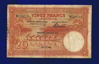Belgium Congo  20 Francs 1944 P15D  Fine