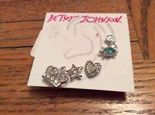 BETSEY JOHNSON EARRINGS SET OF 5 SILVER STUDS CROWN TURTLE, HEART #329